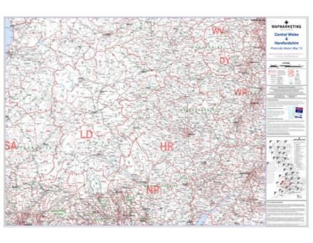 Postcode Sector Map 12 Central Wales and Herefordshire